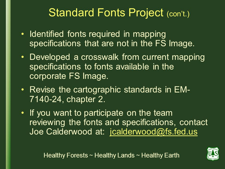 Standard Fonts Project (con't.)