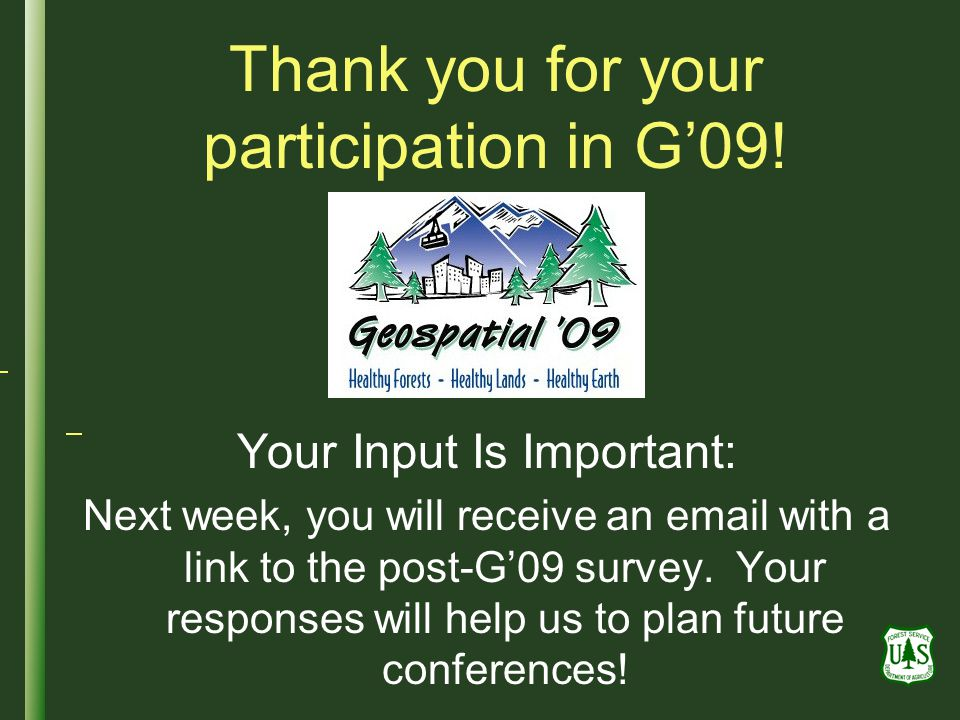 Thank you for your participation in G'09!