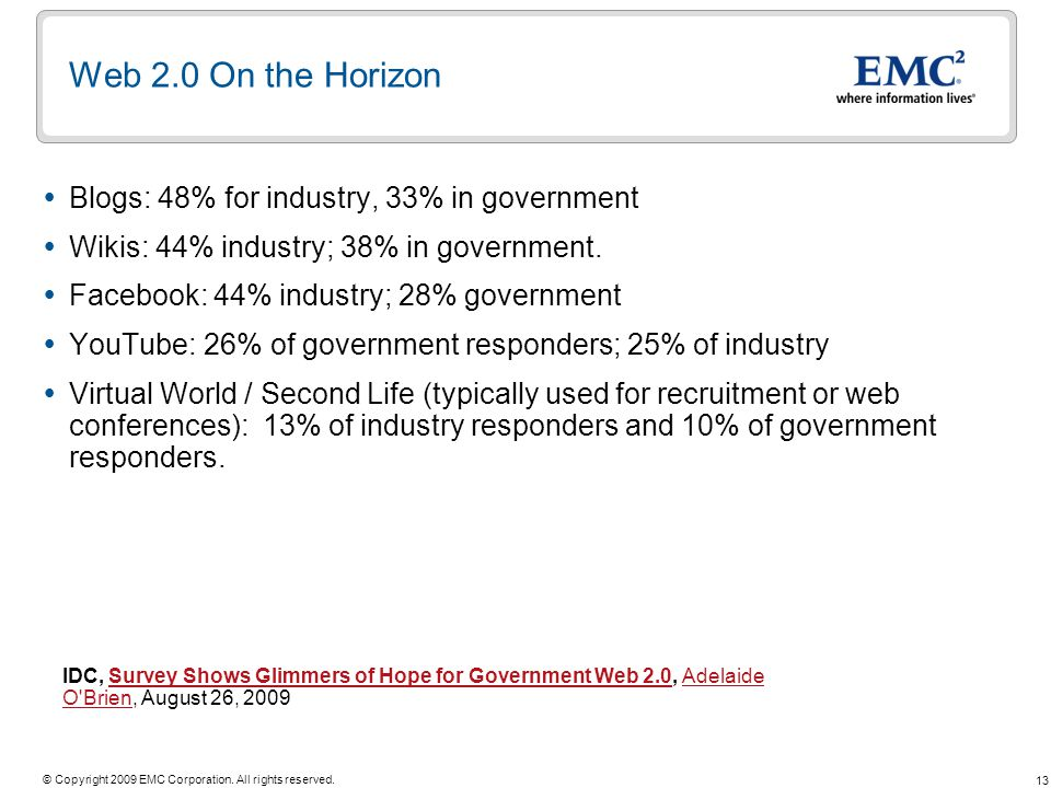 Web 2.0 On the Horizon Blogs: 48% for industry, 33% in government