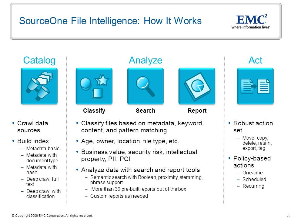 SourceOne File Intelligence: How It Works