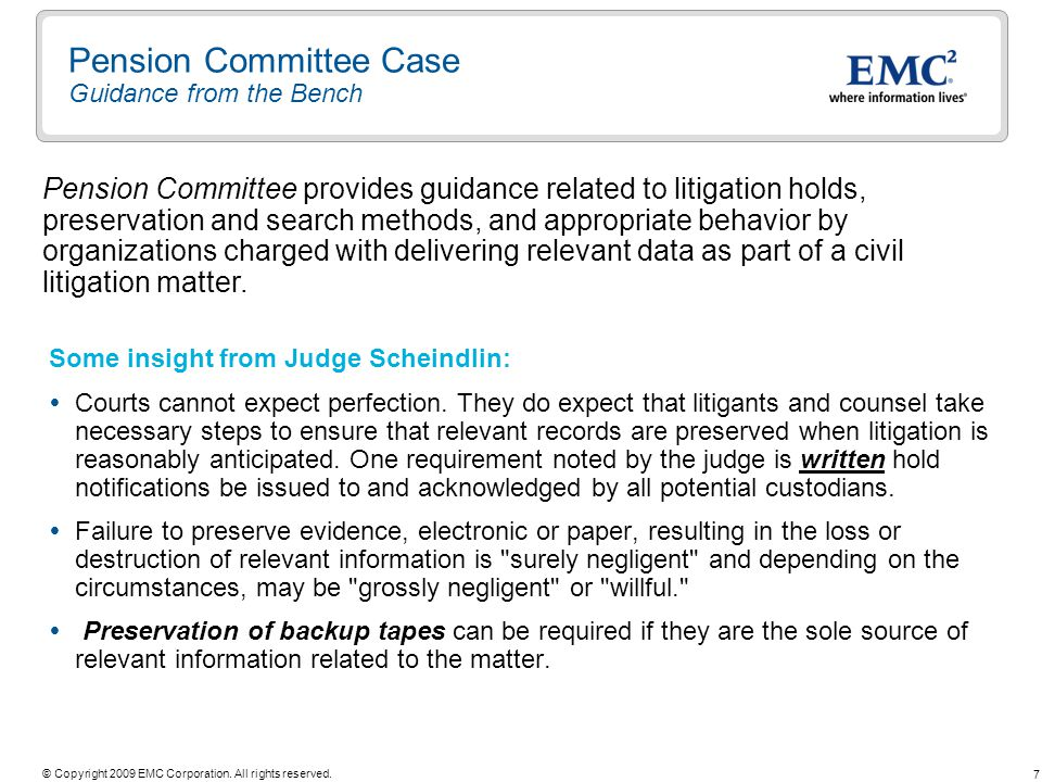 Pension Committee Case Guidance from the Bench