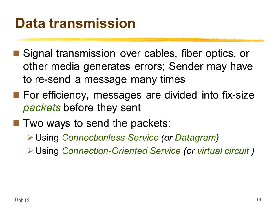 Data transmission Signal transmission over cables, fiber optics, or other media generates errors; Sender may have to re-send a message many times.