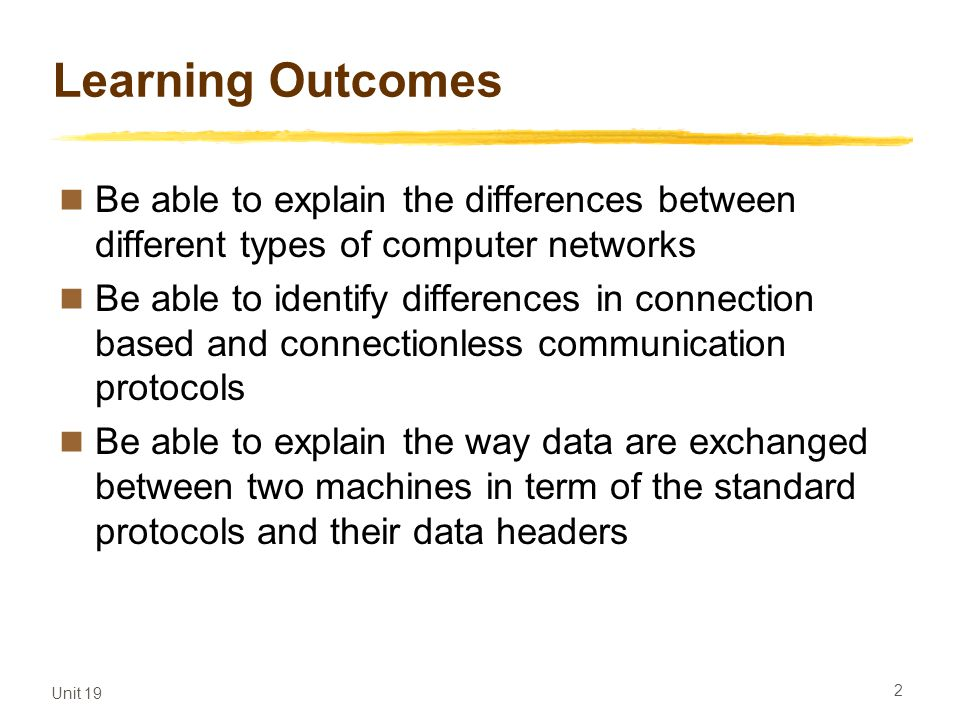 Learning Outcomes Be able to explain the differences between different types of computer networks.