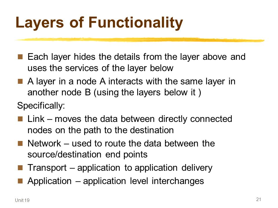 Layers of Functionality