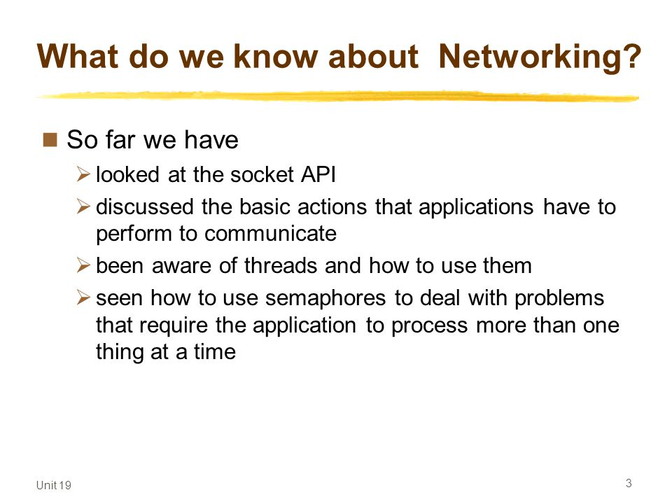 What do we know about Networking