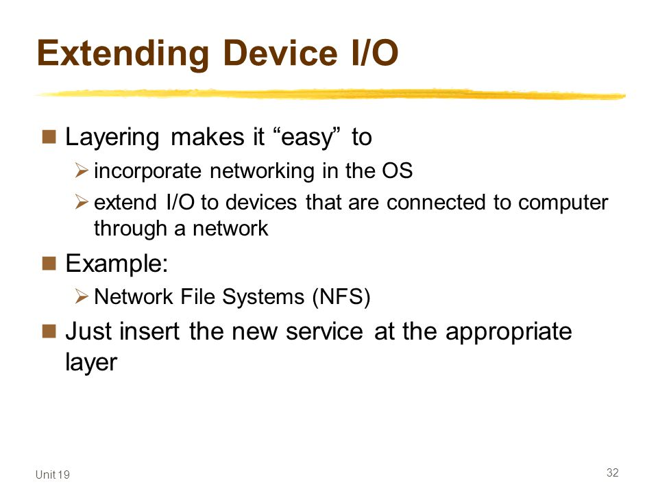 Extending Device I/O Layering makes it easy to Example: