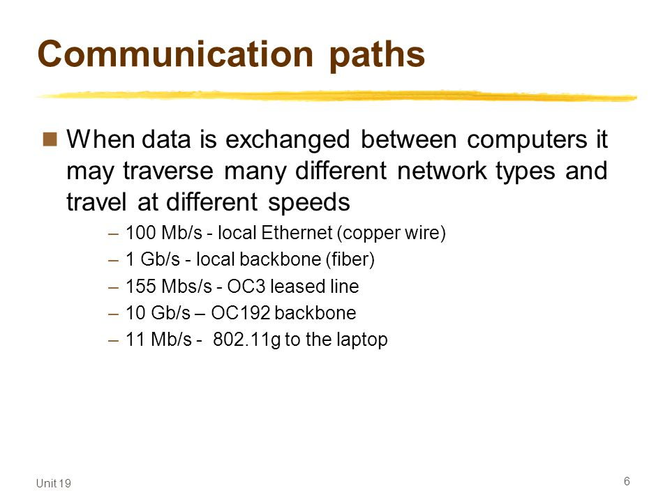 Communication paths When data is exchanged between computers it may traverse many different network types and travel at different speeds.