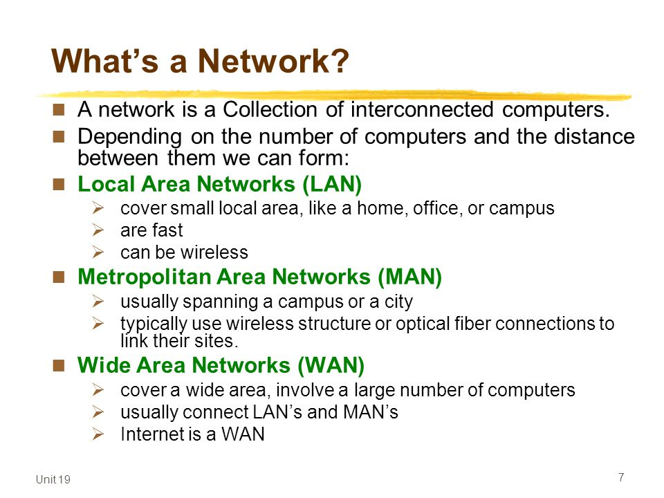 What's a Network A network is a Collection of interconnected computers.