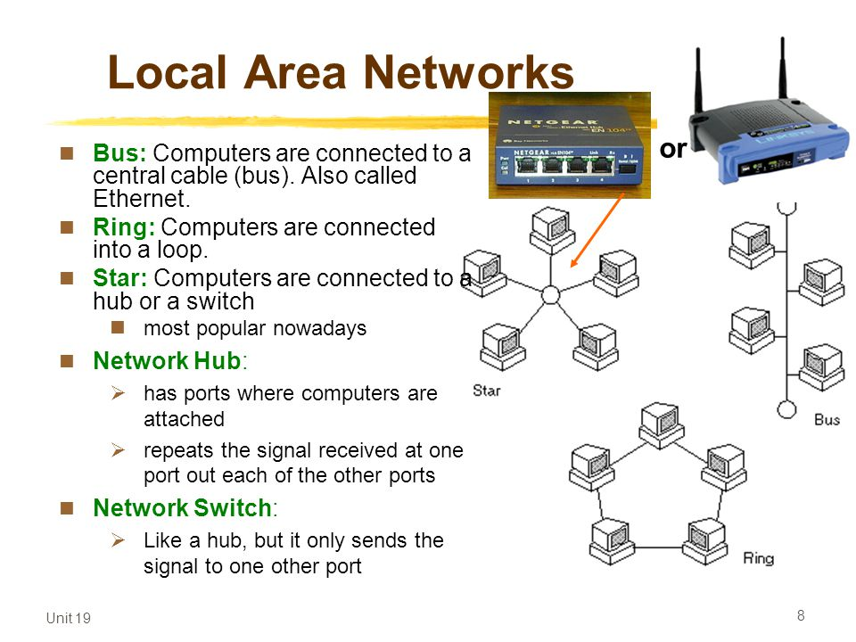 Local Area Networks or. Bus: Computers are connected to a central cable (bus). Also called Ethernet.