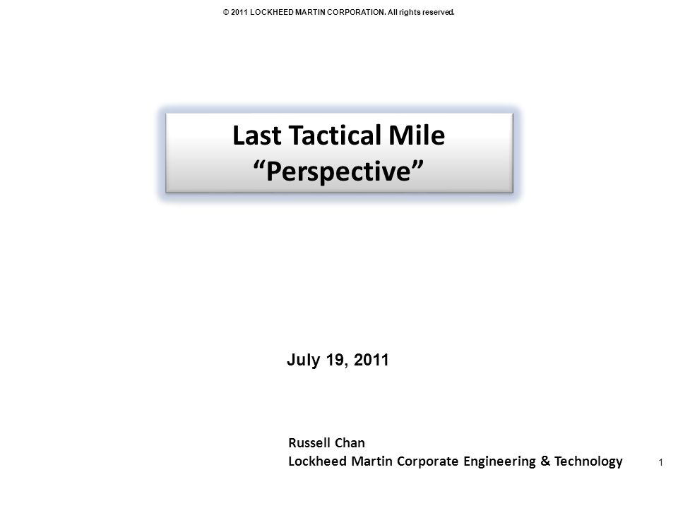 Last Tactical Mile Perspective