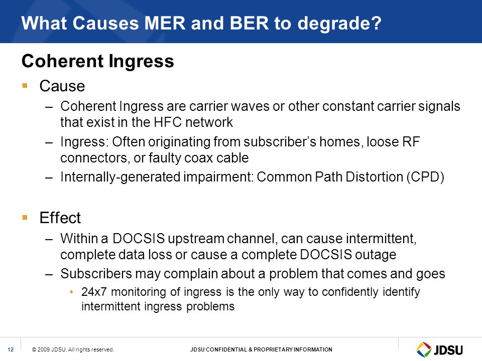 What Causes MER and BER to degrade