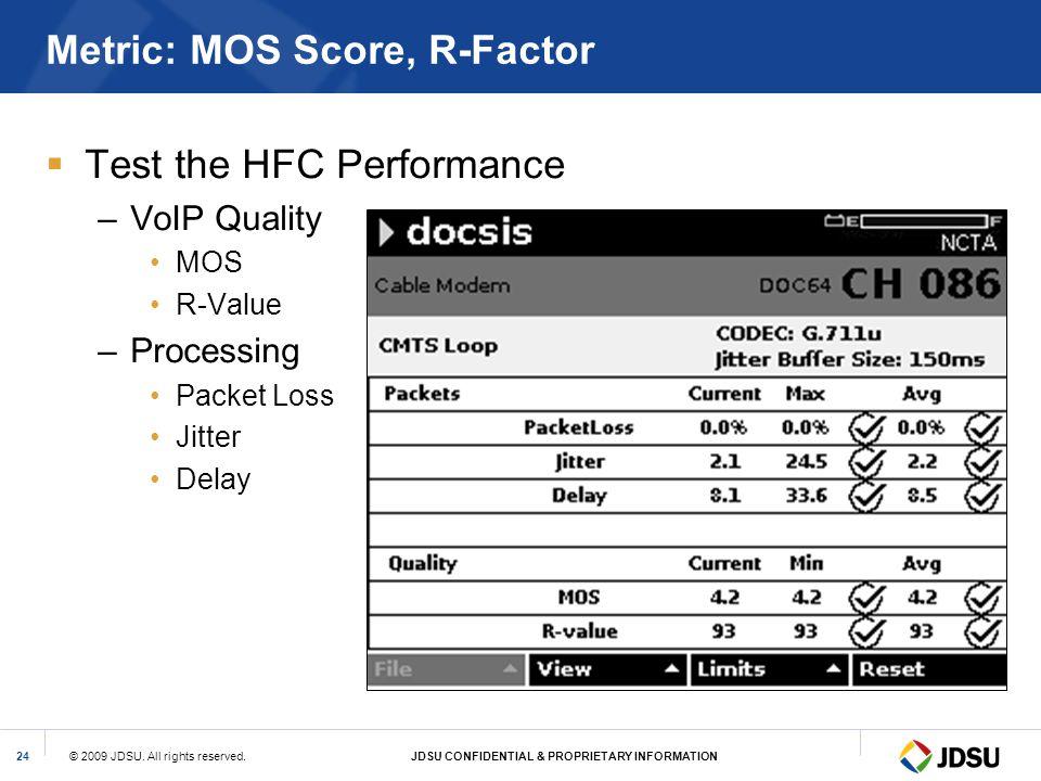 Metric: MOS Score, R-Factor