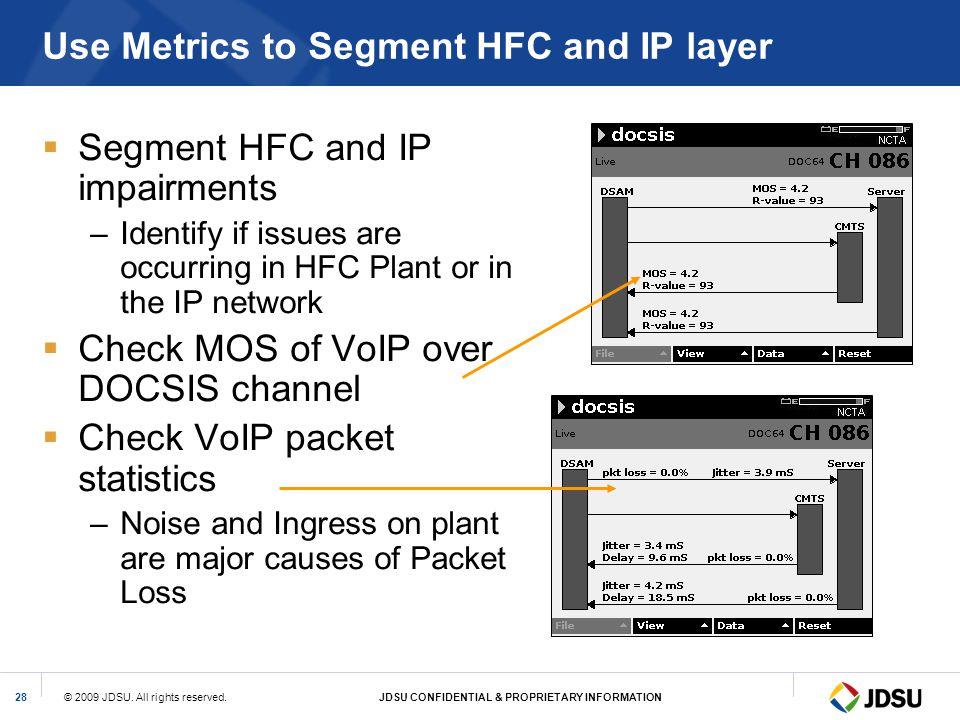 Use Metrics to Segment HFC and IP layer