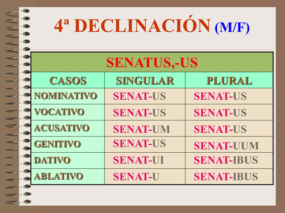 4ª DECLINACIÓN (M/F) SENATUS,-US CASOS SINGULAR PLURAL SENAT-US