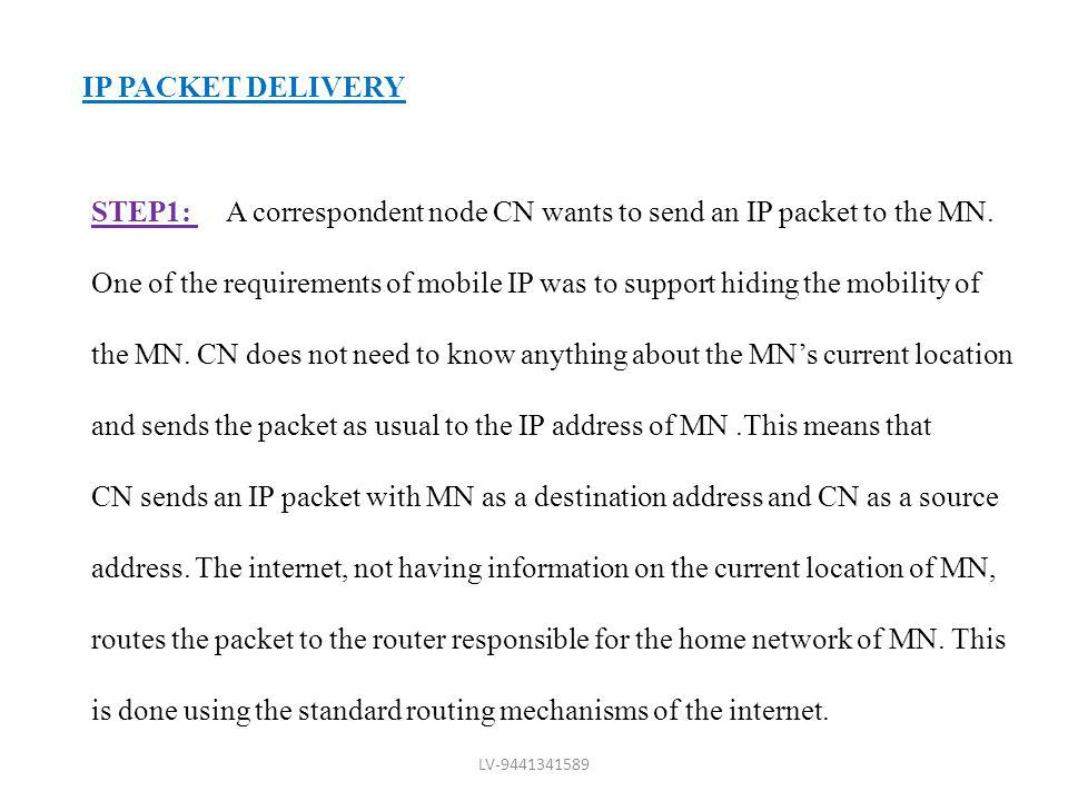 STEP1: A correspondent node CN wants to send an IP packet to the MN.