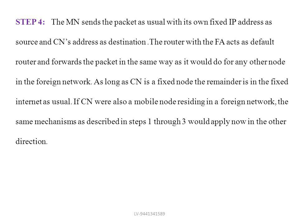 STEP 4: The MN sends the packet as usual with its own fixed IP address as