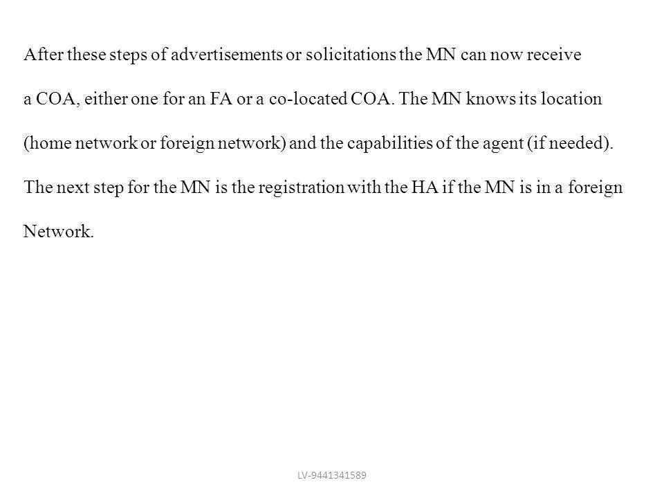 After these steps of advertisements or solicitations the MN can now receive