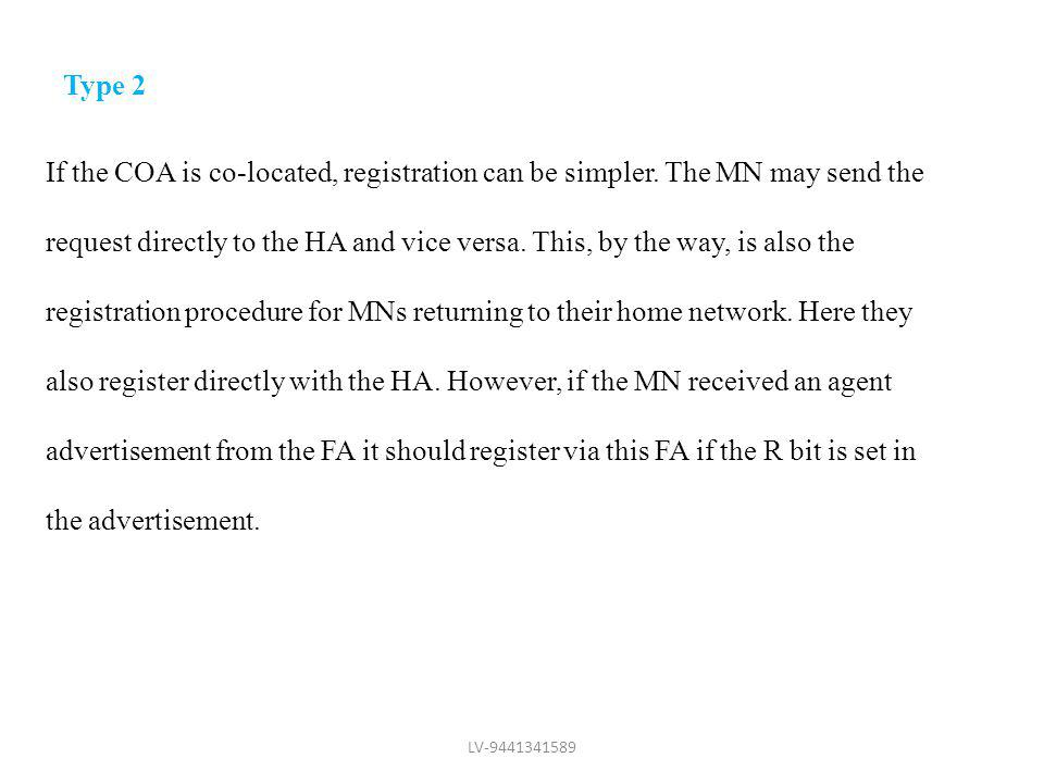 Type 2 If the COA is co-located, registration can be simpler. The MN may send the.