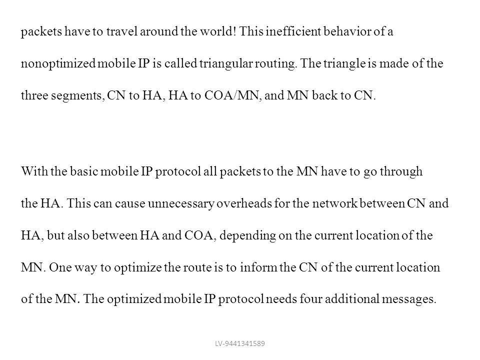 three segments, CN to HA, HA to COA/MN, and MN back to CN.