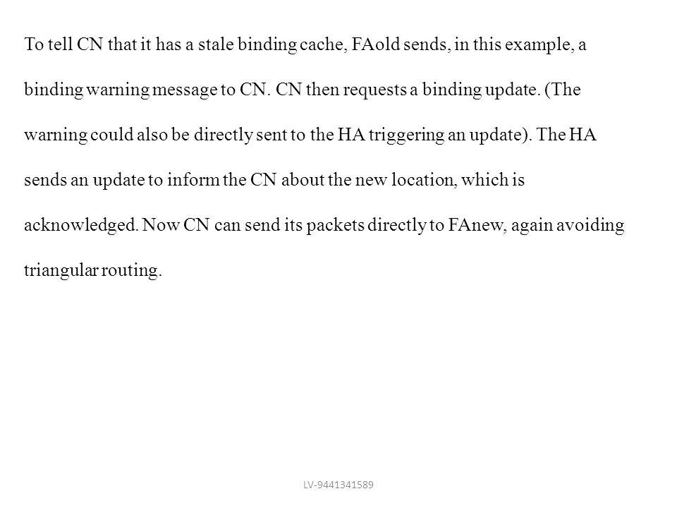 binding warning message to CN. CN then requests a binding update. (The