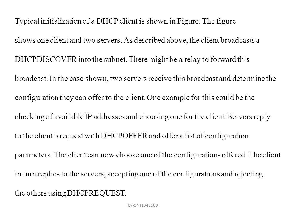 Typical initialization of a DHCP client is shown in Figure. The figure