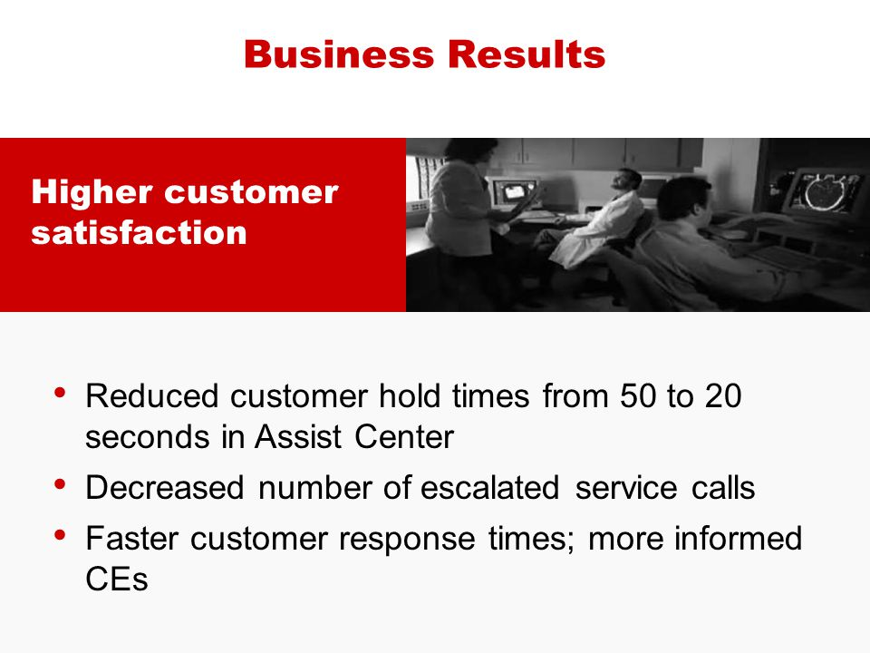 Business Results Higher customer satisfaction