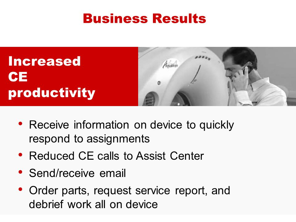 Business Results Increased CE productivity