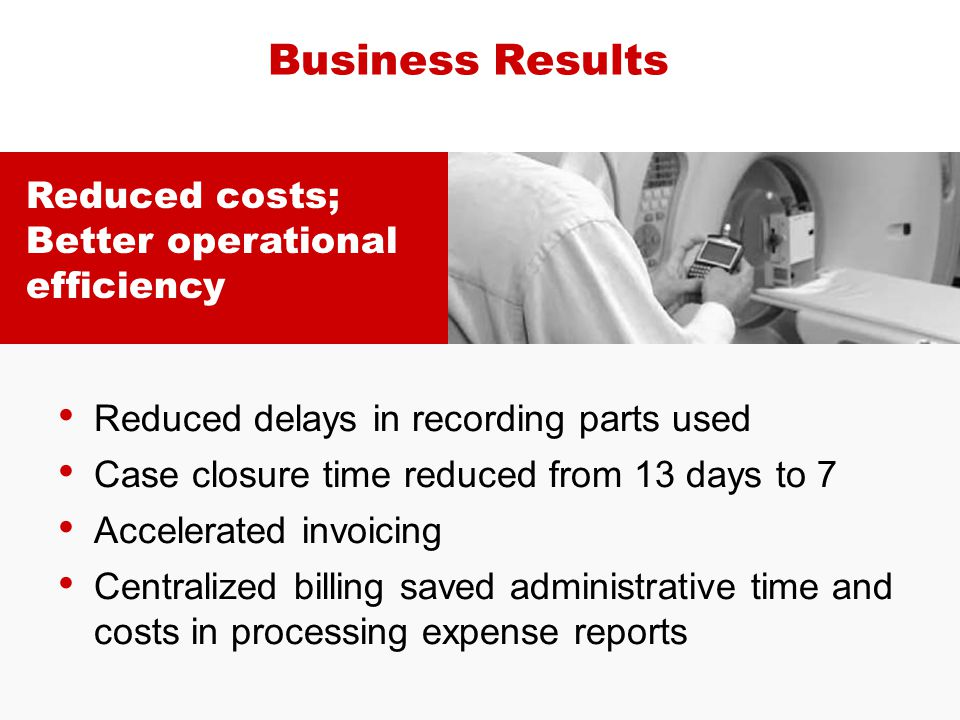 Business Results Reduced costs; Better operational efficiency