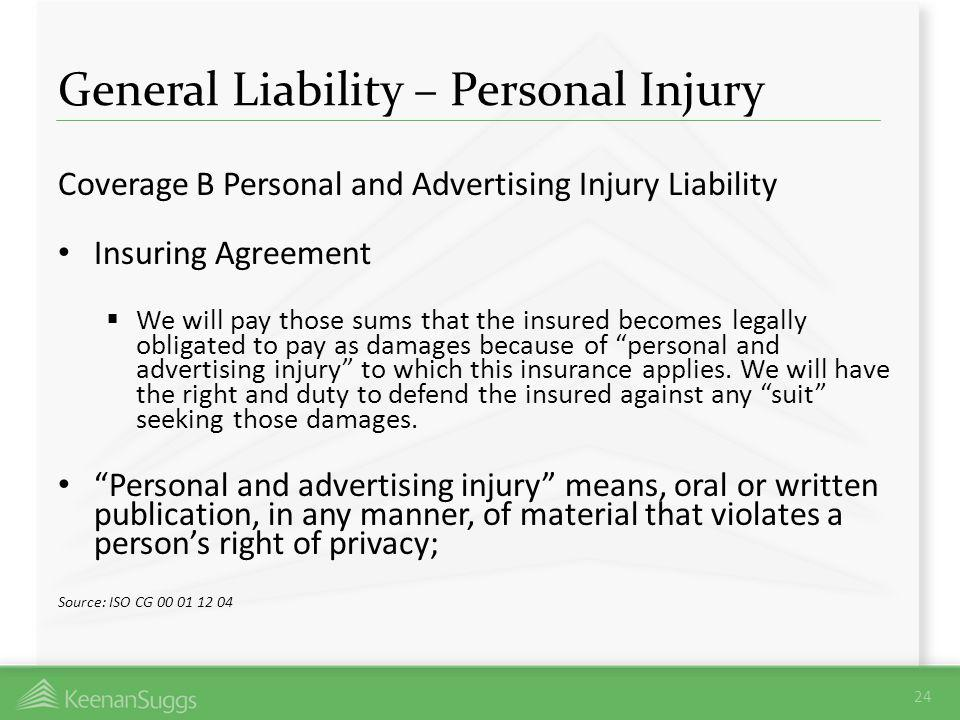 General Liability – Personal Injury