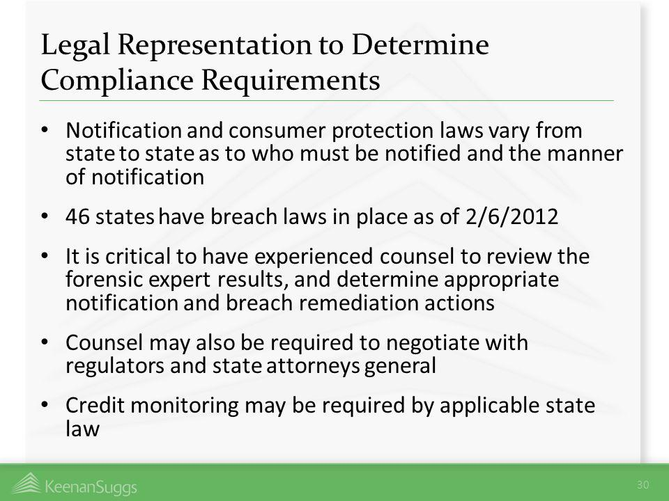 Legal Representation to Determine Compliance Requirements