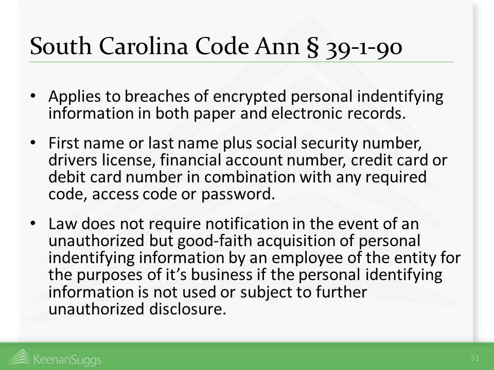 South Carolina Code Ann § 39-1-90