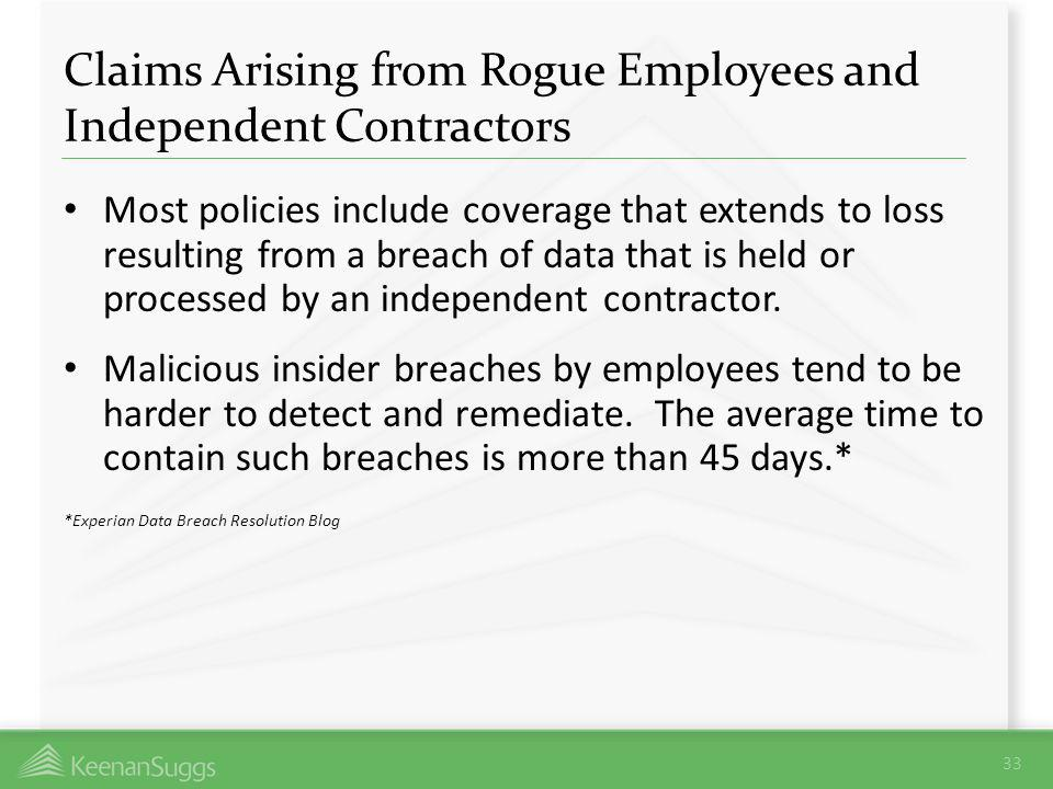 Claims Arising from Rogue Employees and Independent Contractors