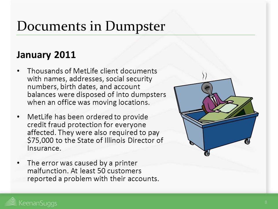 Documents in Dumpster January 2011