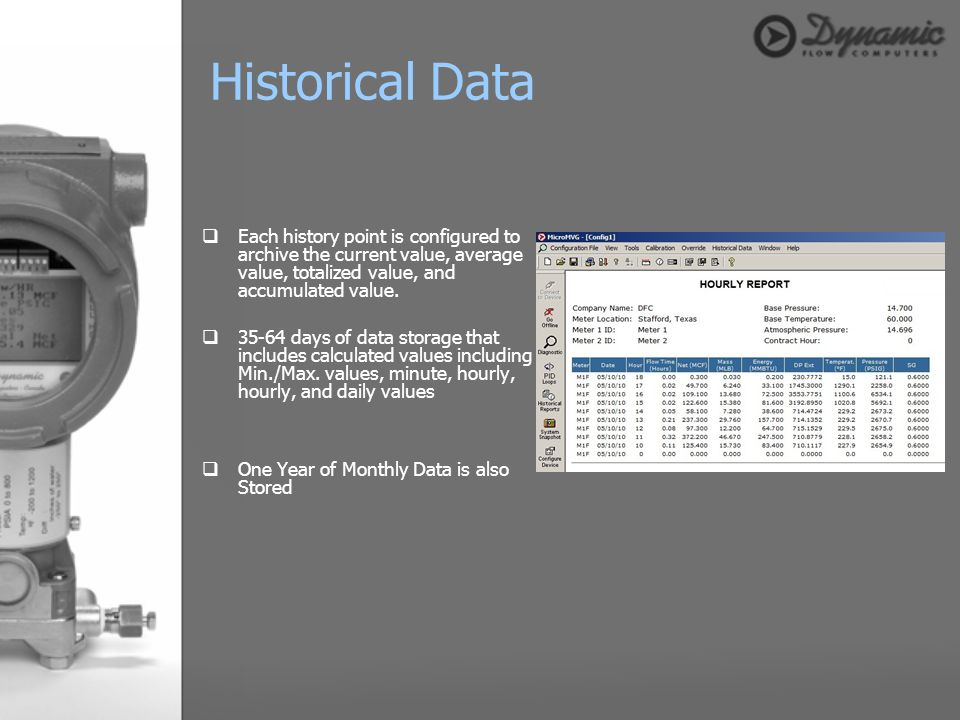 Historical Data Each history point is configured to archive the current value, average value, totalized value, and accumulated value.