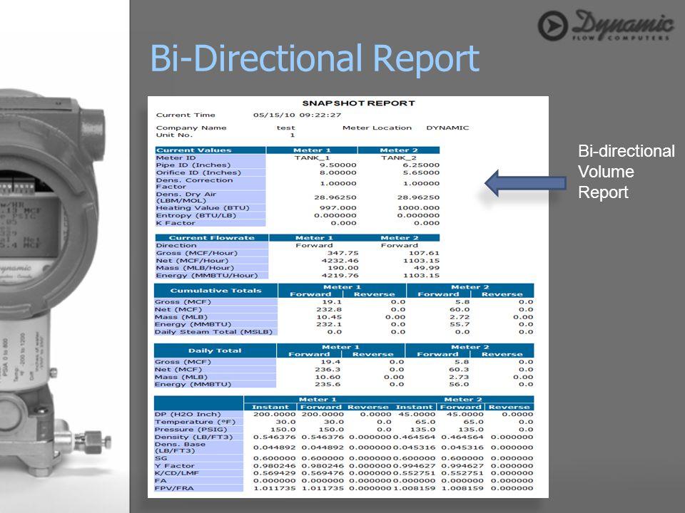 Bi-Directional Report
