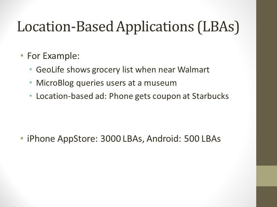 Location-Based Applications (LBAs)