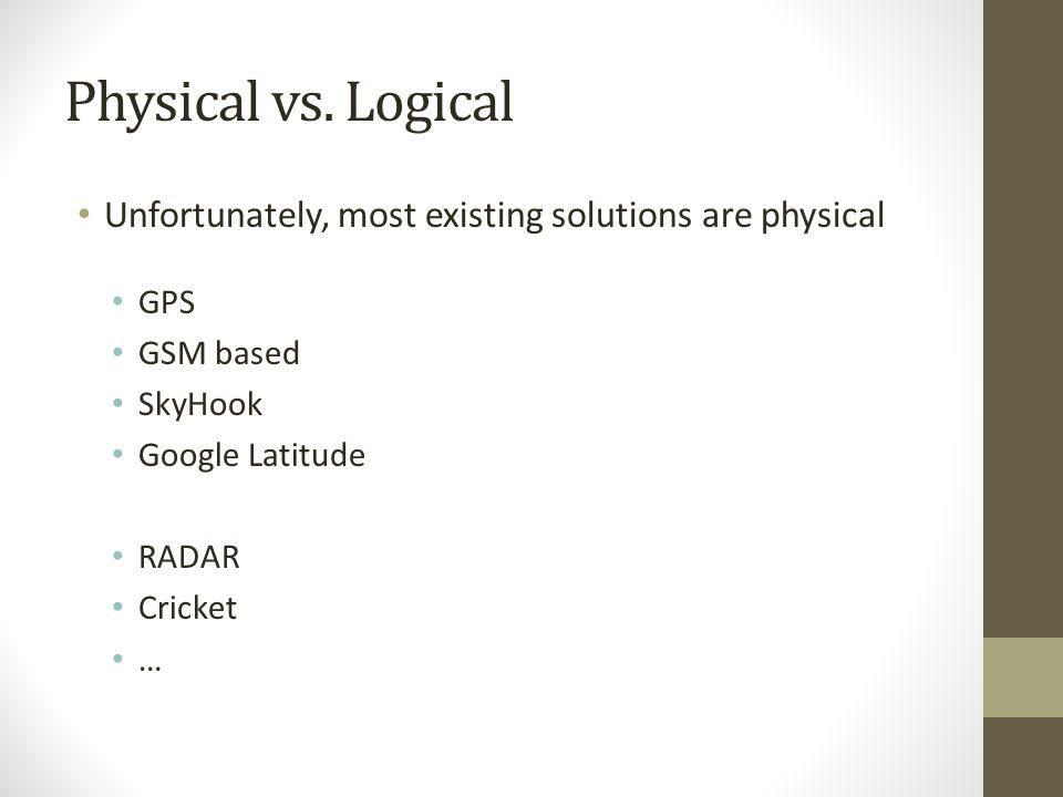 Physical vs. Logical Unfortunately, most existing solutions are physical. GPS. GSM based. SkyHook.