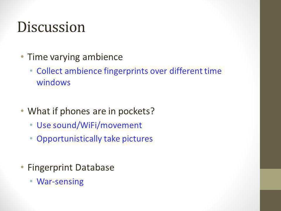 Discussion Time varying ambience What if phones are in pockets