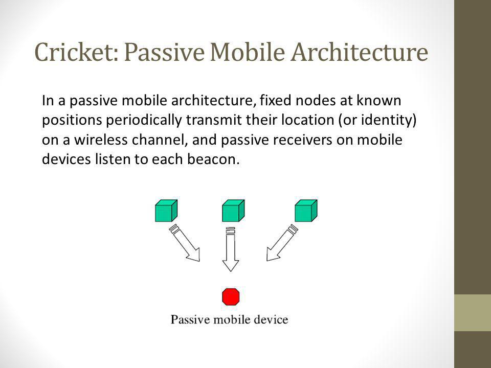 Cricket: Passive Mobile Architecture