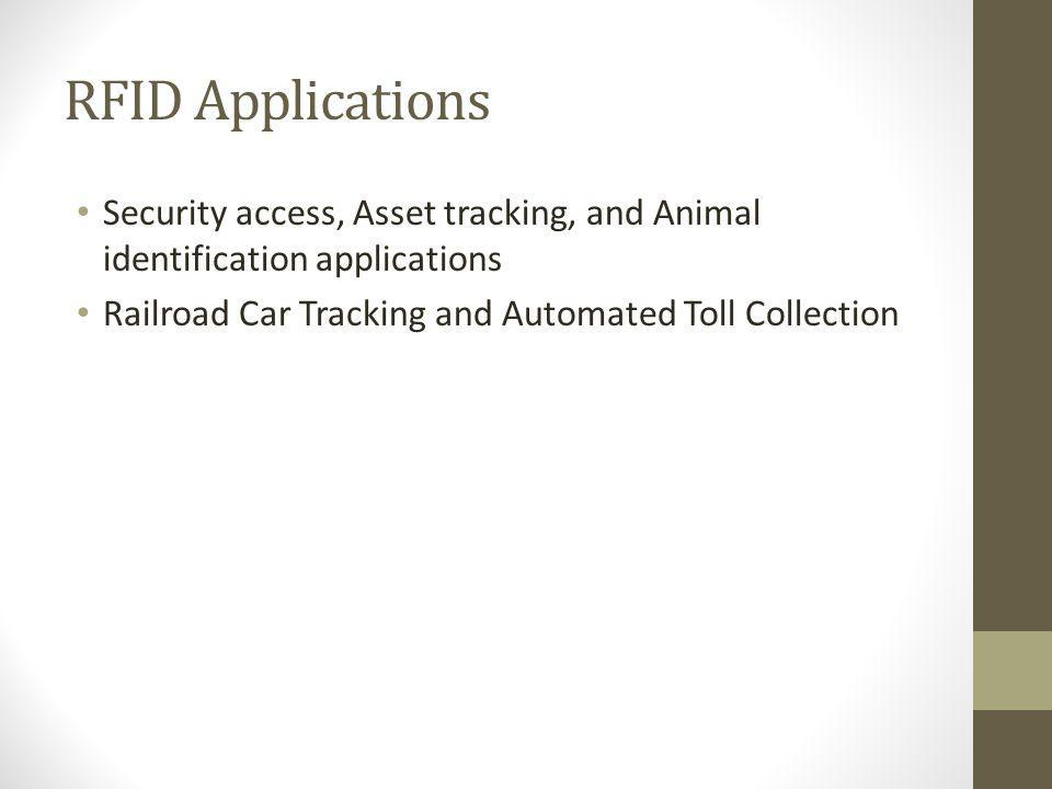 RFID Applications Security access, Asset tracking, and Animal identification applications.