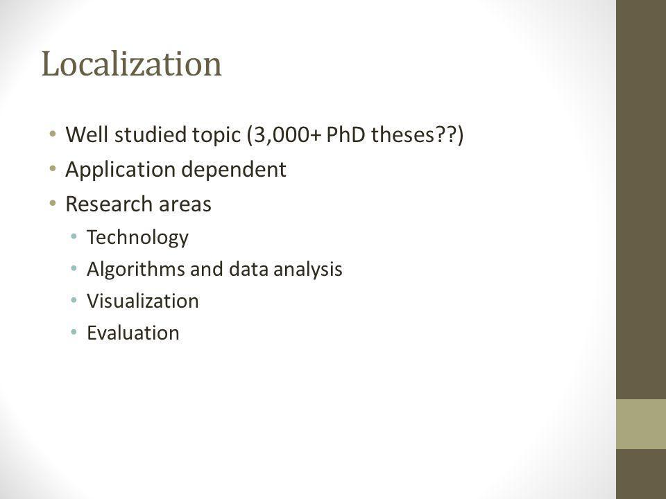 Localization Well studied topic (3,000+ PhD theses )