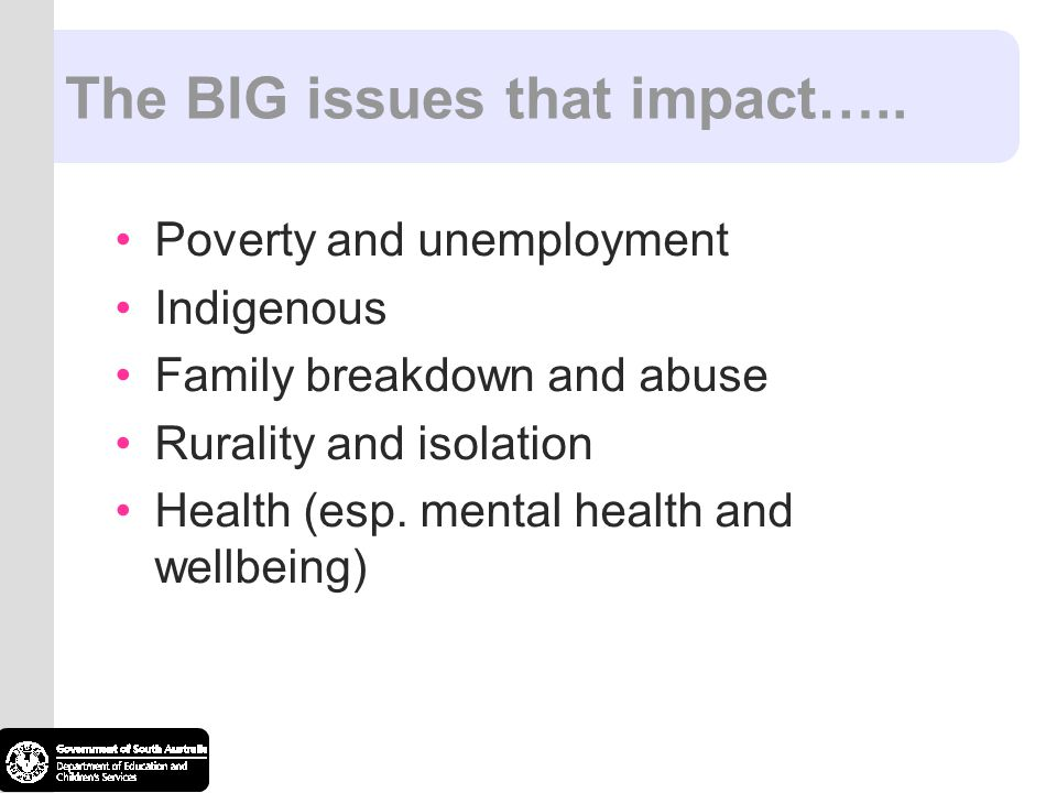 The BIG issues that impact…..