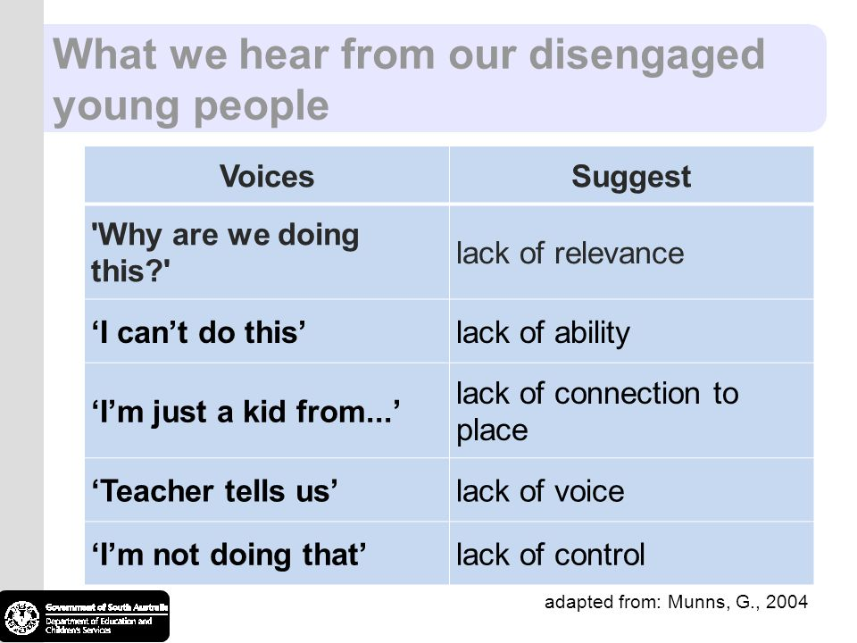 What we hear from our disengaged young people