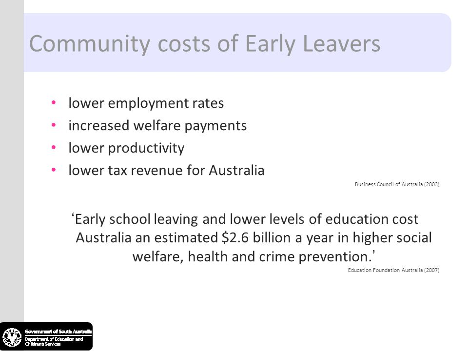 Community costs of Early Leavers