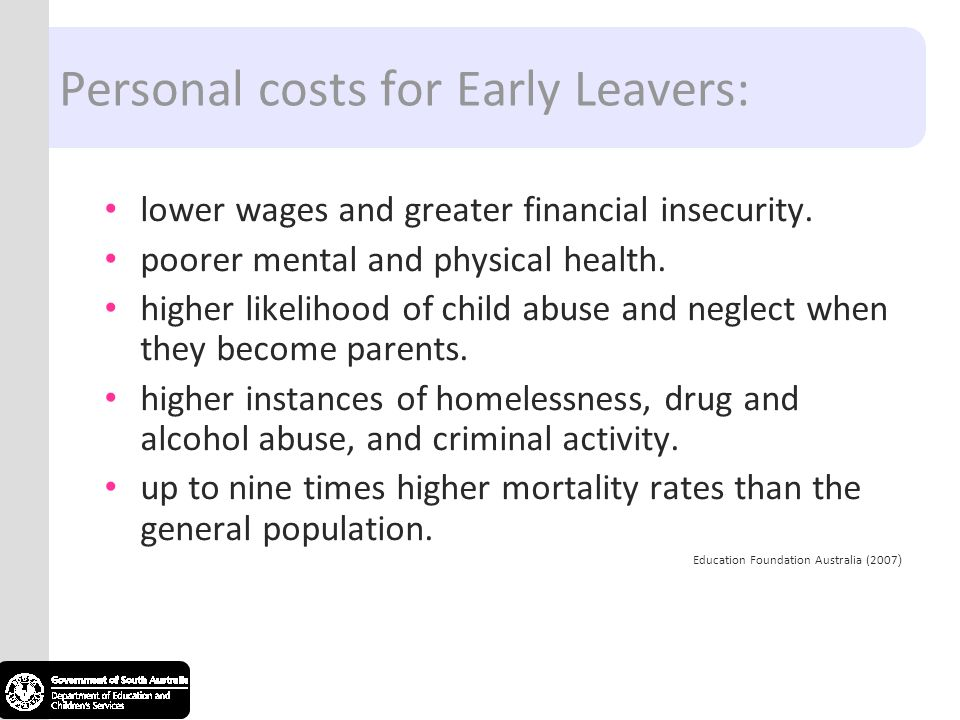 Personal costs for Early Leavers: