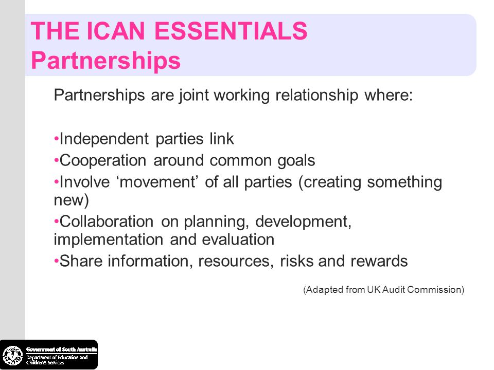 THE ICAN ESSENTIALS Partnerships