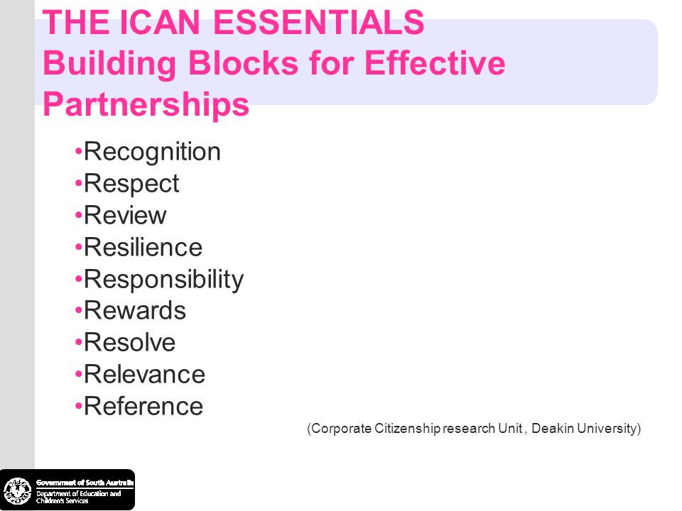 THE ICAN ESSENTIALS Building Blocks for Effective Partnerships