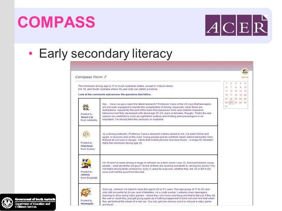 COMPASS Early secondary literacy