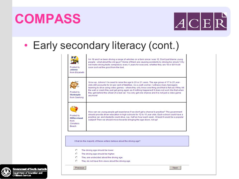COMPASS Early secondary literacy (cont.)