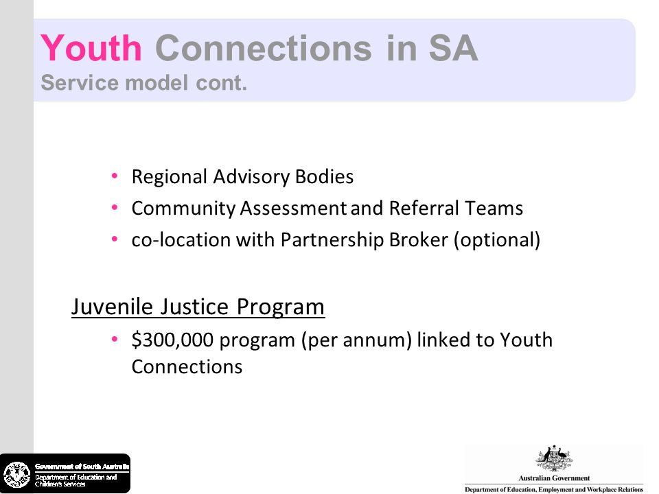 Youth Connections in SA Service model cont.